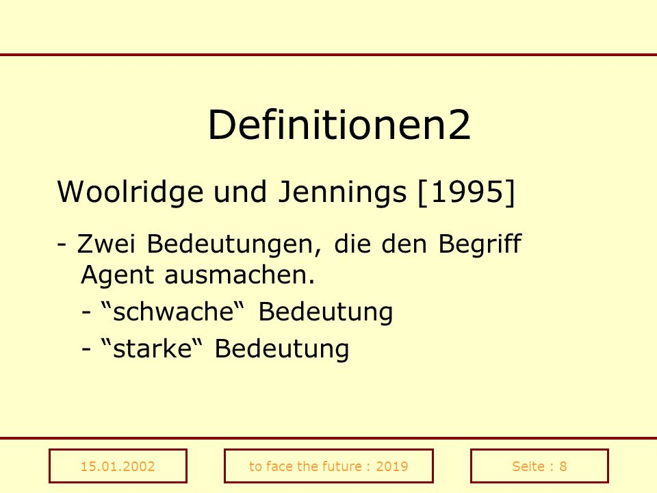 Definitionen2 Woolridge und Jennings [1995]